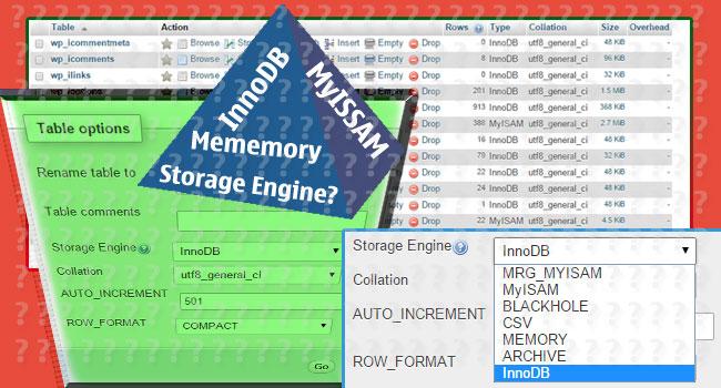 Storage MyISAM hay innoDB hay Memmory?